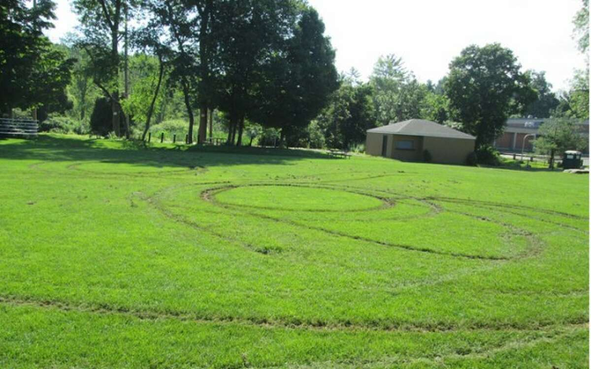 Damage at East Ridge Middle School ball field in July. Ridgefield and Florida arrested on Monday.