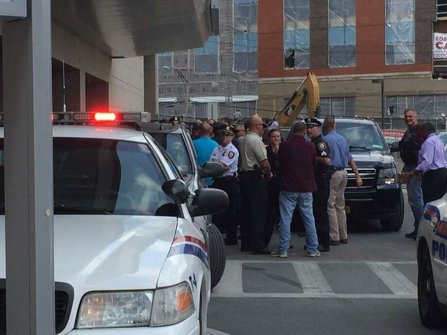 Police officers begin to line up at Albany Medical Center Hospital to cheer Officer Joshua Comitale when he leaves the hospital. Comitale, one of two Troy police officers should during a shootout with a carjack suspect, was expected to leave the hospital at 2 p.m. (Lori Van Buren / Times Union)