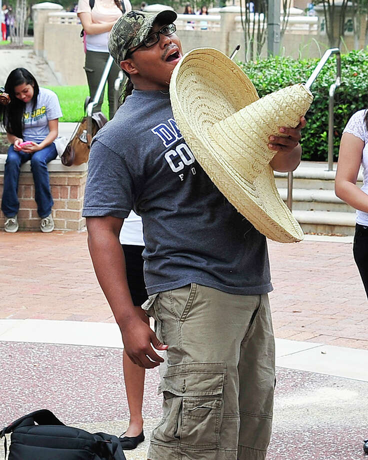 "San Jacinto College student Tyler Pusha's exuberant ""grito"" (Spanish for shout) earned him a first-place trophy in a contest held recently at the San Jacinto College North Campus. Grito Fest is a ceremony linked to Mexico's Independence Day celebrations. All three San Jacinto College campuses hold similar events throughout Hispanic Heritage Month."