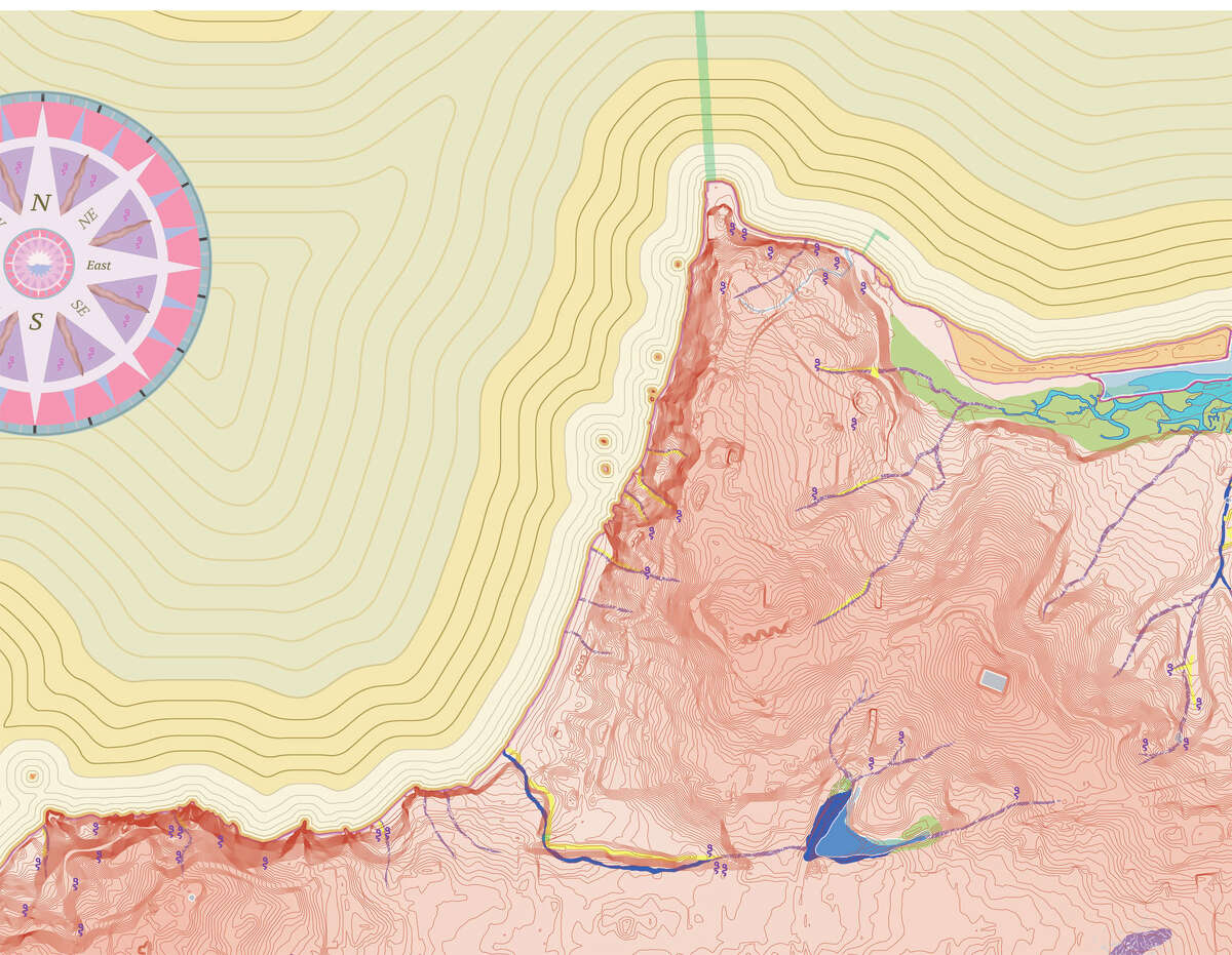 This map of the Presidio shows the numerous now-buried creeks of the past in blue, and the current waterways in yellow. San Francisco's longest remaining waterway is Lobos Creek, which runs from Mountain Lake along the edge of the Presidio to the southern end of Baker Beach for less than half a mile.