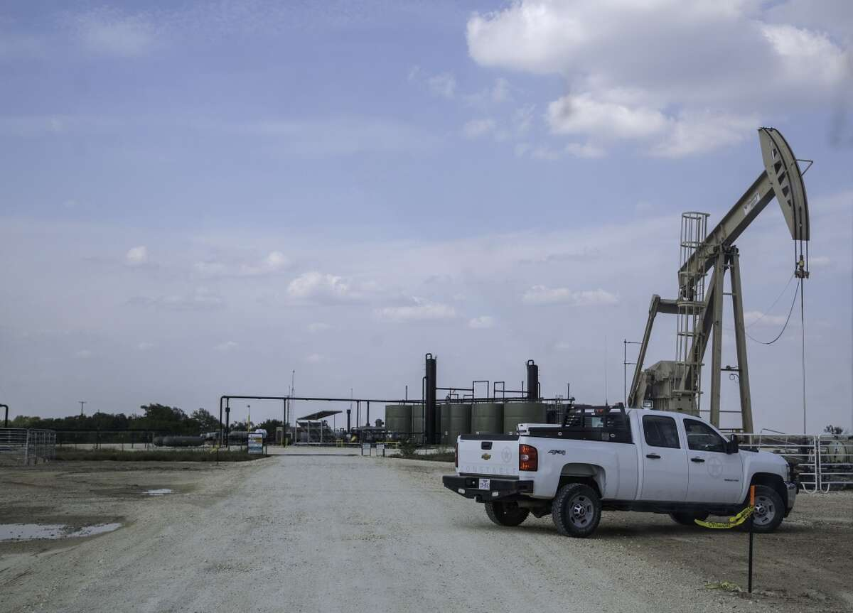 An oil field gate on Hindes Road in northeast La Salle Count.