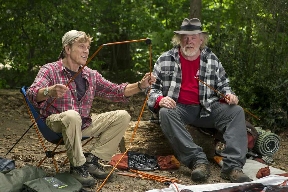 """Robert Redford (left) as Bill Bryson and Nick Nolte as Stephen Katz on the Appalachian Trail in """"A Walk in the Woods."""" Photo: Frank Masi, SMPSP, Associated Press"""