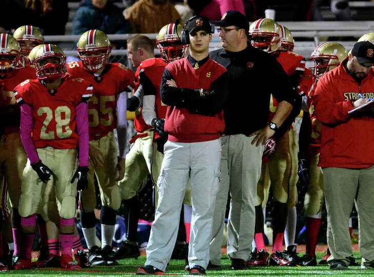 """Second-year Stratford coach TJ Cavaliere, in center with arms folded: """"Our goal is to have a winni"""