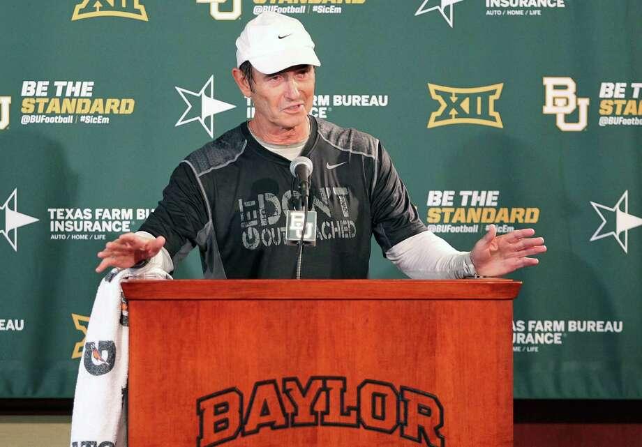 Baylor head football coach Art Briles addresses the media, Monday Aug. 31, 2015, in Waco, Texas. Photo: Jerry Larson /Waco Tribune-Herald / Waco Tribune Herald