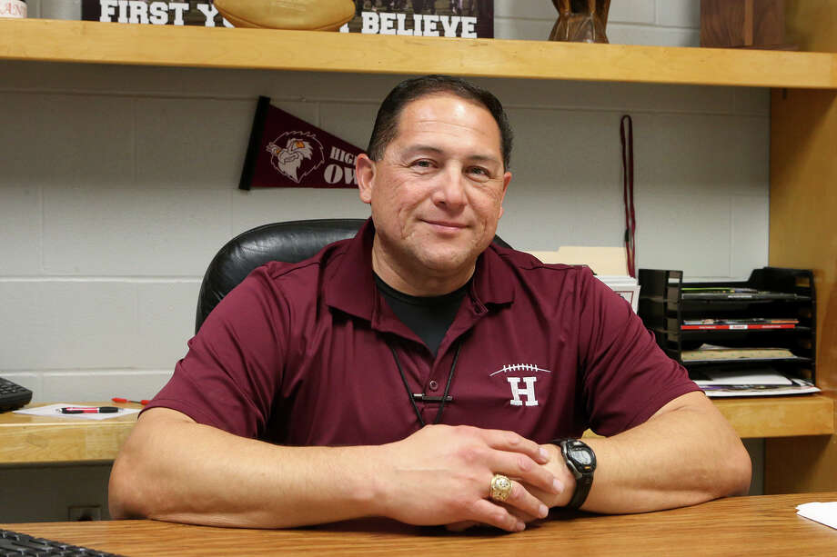 Highlands' new football coach and athletic coordinator, Juan Morales, in his office at the school on Wednesday, March 4, 2015. Morales coached at John Jay for 13 years and was an assistant at Brennan for the last two seasons. Photo: Marvin Pfeiffer /San Antonio Express-News / Express-News 2015