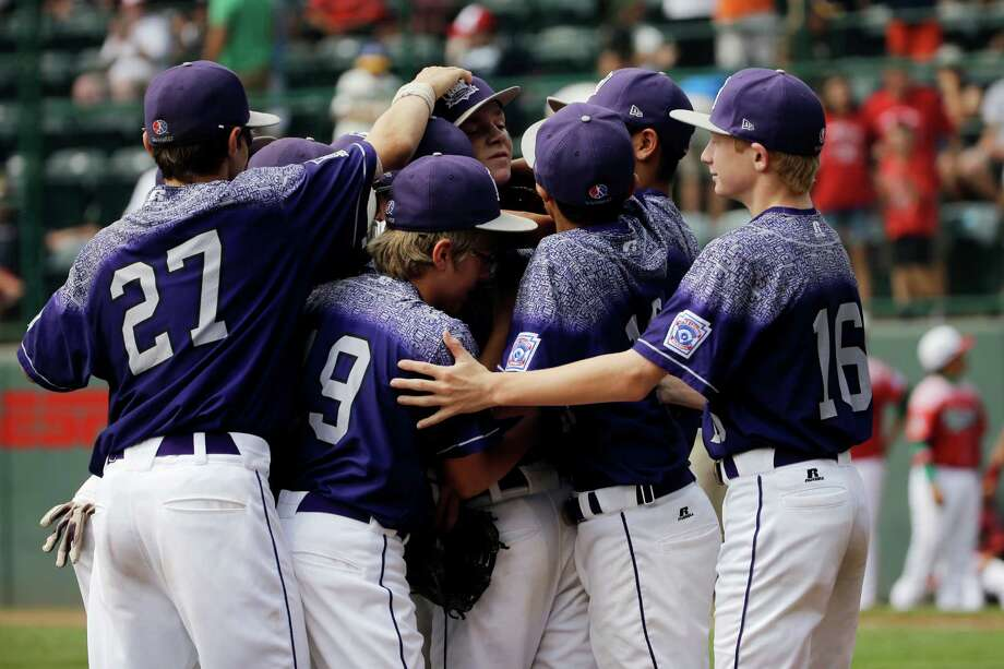 Pearland, Texas, players celebrate after winning the third-place baseball game against Mexico at the Little League World Series tournament, Sunday, Aug. 30, 2015, in South Williamsport, Pa. (AP Photo/Matt Slocum) Photo: Matt Slocum, STF / AP