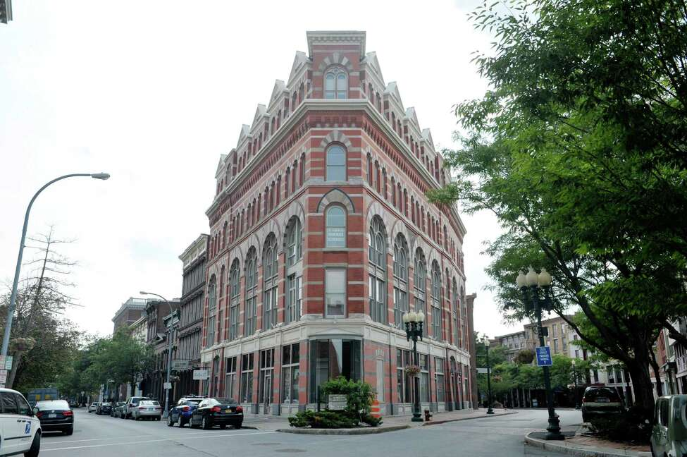 A view of the Rice Building at the corner of First Street and River Street, seen here on Monday, August 31, 2015, in Troy, N.Y. (Paul Buckowski / Times Union)