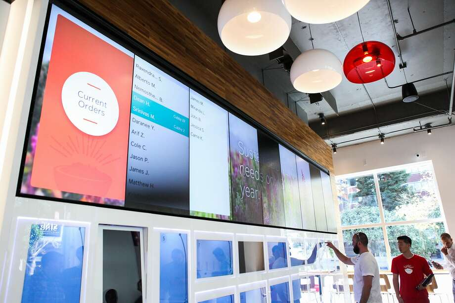 A list of orders is displayed on a screen at the grand opening of Eatsa, a new fully automated fast food restaurant in Rincon Center in San Francisco, California, on Monday, Aug. 31, 2015. Photo: Gabrielle Lurie, Special To The Chronicle