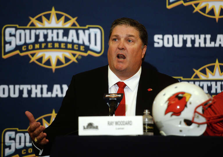 Coach Ray Woodard responds to a question from the media Wednesday afternoon. The Southland Conferenc