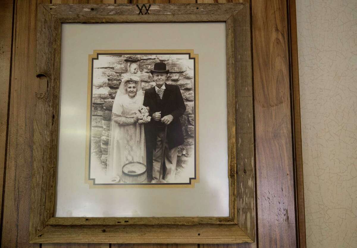 A photograph of Balous Miller's parents is displayed at the Bill Miller Bar-B-Q Commissary in San Antonio.