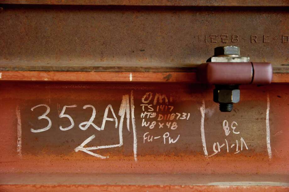 A detail from one of the rails, manufactured in 1937, that are being used at the SMART maintenance yard. Photo: Brant Ward / The Chronicle / ONLINE_YES