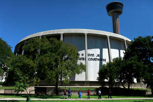 The John H. Wood Jr. United States Courthouse stands next to HemisFair Park in San Antonio.