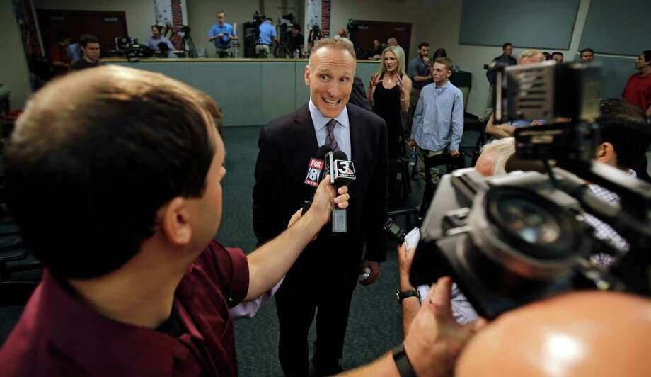 Cleveland Indians general manager Mark Shapiro answers questions after a news conference Monday, Aug. 31, 2015, in Cleveland. Shapiro, who has had several prominent roles in nearly 24 years with Cleveland, will become the Toronto Blue Jays' president and CEO following this season. (AP Photo/Tony Dejak) ORG XMIT: OHTD104 Photo: Tony Dejak / AP