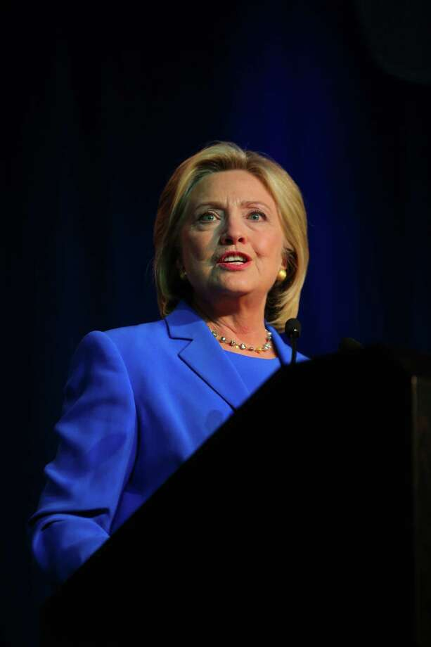 MINNEAPOLIS, MN - AUGUST 28:  Democratic Presidential candidate Hillary Clinton speaks at the Democratic National Committee summer meeting on August 28, 2015 in Minneapolis, Minnesota.  Most of the Democratic Presidential candidates including Clinton, Bernie Sanders , Martin O'Malley and Lincoln Chafee are attending at the event. (Photo by Adam Bettcher/Getty Images) ORG XMIT: 573116627 Photo: Adam Bettcher / 2015 Getty Images