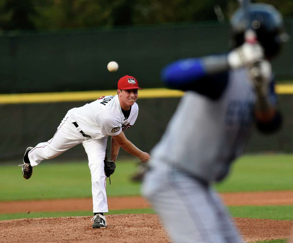 Tri-City ValleyCats pitcher Trent Thornton (31) pitches against the Brooklyn Cyclones during their baseball game in Troy, N.Y., Monday, Aug. 31, 2015. (Hans Pennink / Special to the Times Union) ORG XMIT: HP101