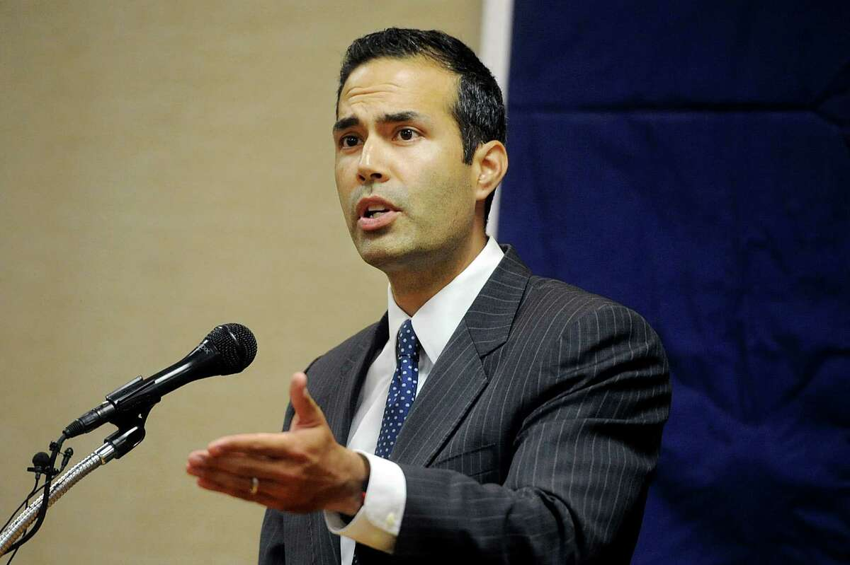 George P. Bush,candidate for Texas Land Commissioner, gives his speech during a campaign rally Tuesday, Oct. 14, 2014 at Hardin-Simmons University. (AP Photo/The Abilene Reporter-News, Joy Lewis)