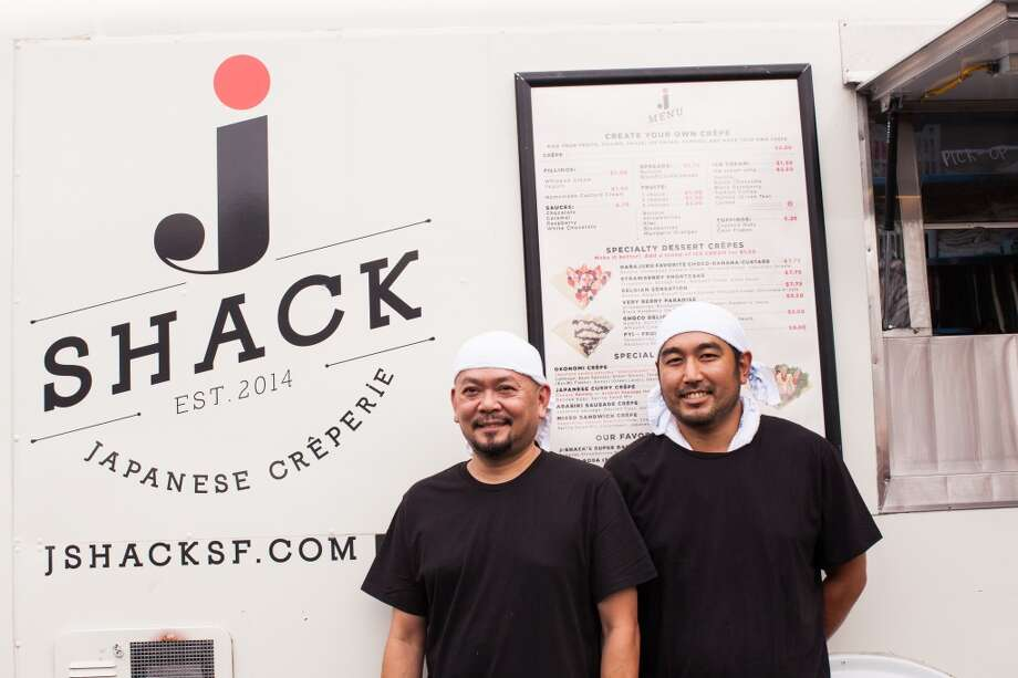 Owners Atsushi Inoue and Peter Camacho in front of the J-Shack food truck.San Francisco is among those cities that require more licenses for food trucks. Photo: Kelsey McClellan, Special To The Chronicle