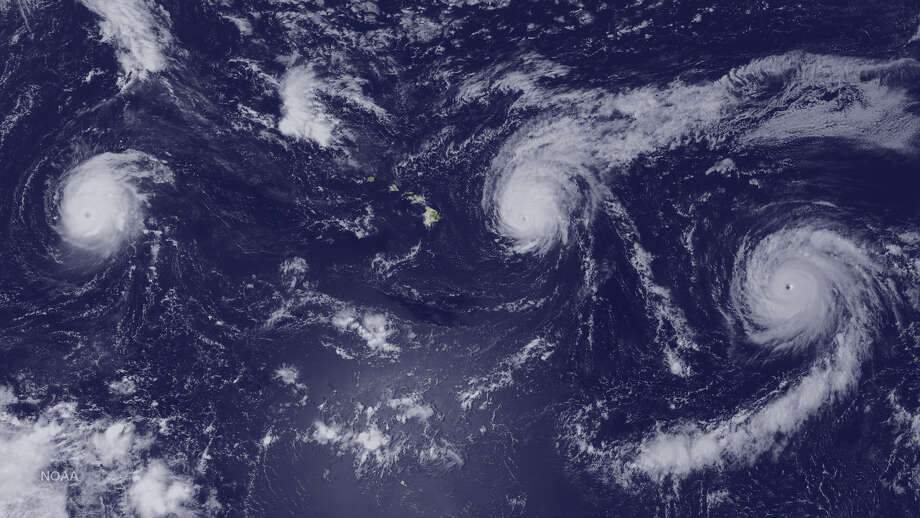 For the first time three category 4 hurricanes, Kilo, Ignacio, and Jimena, have been seen in the central and eastern Pacific Ocean. Photo: NOAA