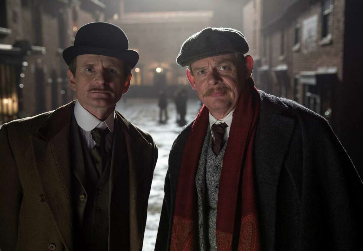 """Charles Edwards, left, as Alfred Wood and Martin Clunes as Sir Arthur Conan Doyle in """"Arthur & George"""" on Masterpiece on PBS."""