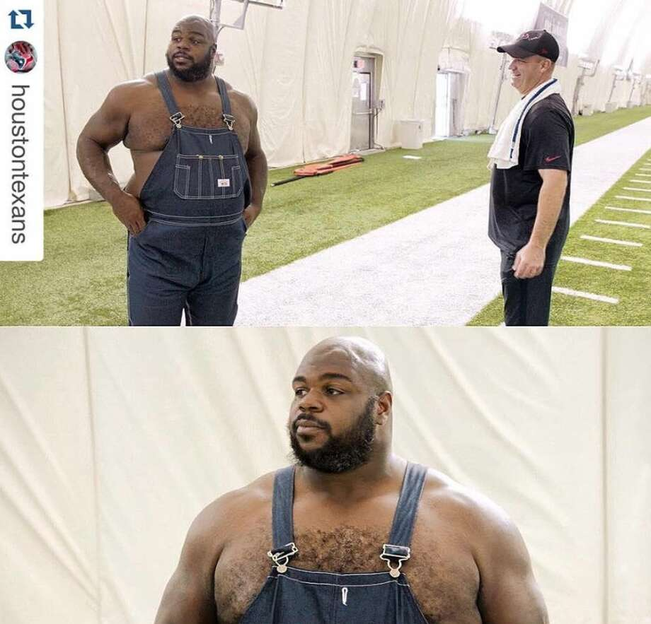 "Within just minutes of the Houston Texans and HBO's ""Hard Knocks"" releasing a photo of defensive tackle Vince Wilfork in a pair of crisp overall ""jorts"" from tonight's upcoming episode, Wilfork became meme fodder. Photo: Twitter / Facebook"