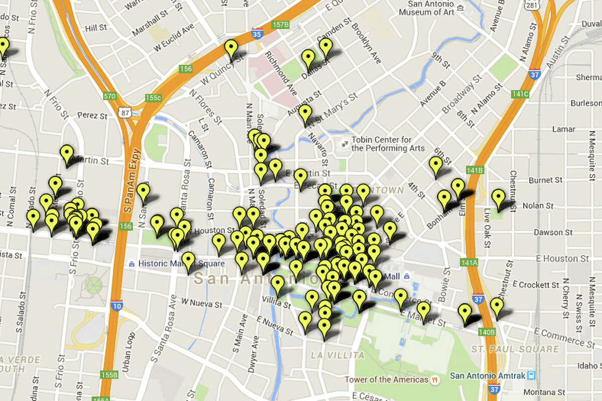 Perhaps not surprisingly, the most public urination/defecation citations issued in San Antonio last year were in downtown. Here are the 14 streets where the most tickets were issued.