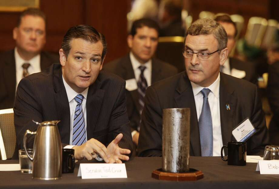 Sen. Ted Cruz, left,  and Bob Harvey , president and CEO of the Greater Houston Partnership are shown during a VIP session before the Greater Houston Partnership's annual State of the Senate luncheon where Cruz will be the keynote speaker at Omni Hotel, Four Riverway, Tuesday, Sept. 1, 2015. Photo: Melissa Phillip / Houston Chronicle