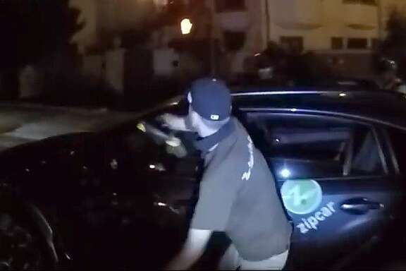"A Critical Mass cyclist who attacked a Zipcar with a metal bike lock was wearing a shirt that said, ""Non-violence is our strength."""