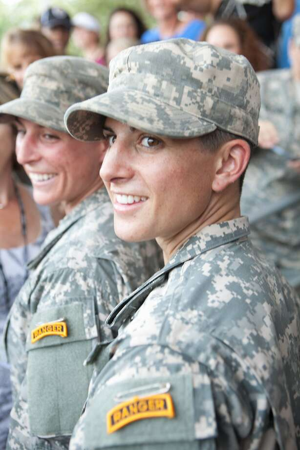 Capt. Kristen Griest (R) and 1st Lt.  Shaye Haver (L) with their Ranger tabs after the graduation ceremony of the United States Army's Ranger School on August 21, 2015 at Fort Benning, Ga. Griest and Haver are the first women ever to successfully complete the U.S. Army's Ranger School. Photo: Jessica McGowan