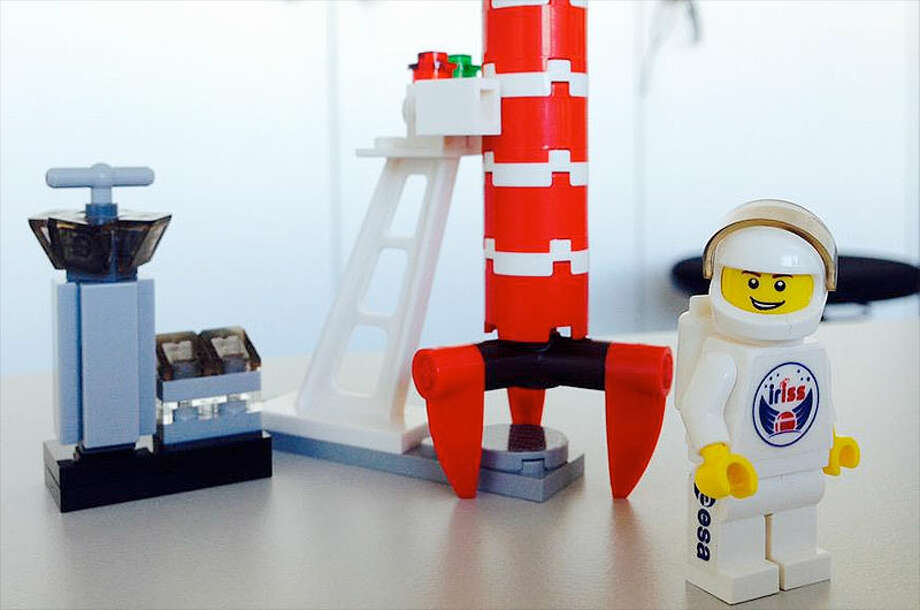 An intrepid Lego astronaut is going to space