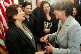 In this Oct. 20, 2011 photo, U.S. Rep. Nancy Pelosi thanks Rosario Anaya following a meeting with Mission District small business owners at the Mission Language & Vocational School in San Francisco, Calif.