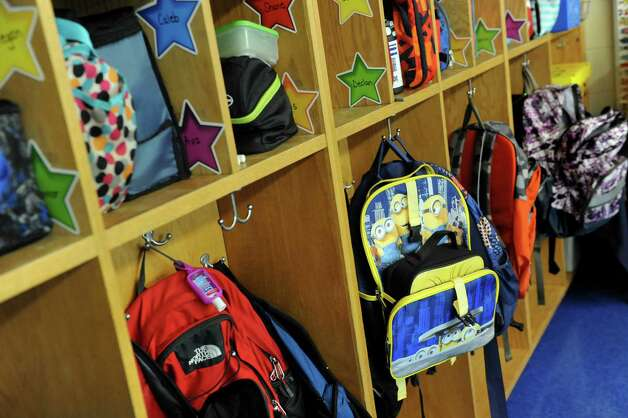 Backpacks and lunches are stowed away during class on the first day of school on Tuesday, Sept. 1, 2015, at Glencliff Elementary in Rexford , N.Y. (Cindy Schultz / Times Union) Photo: Cindy Schultz / 00033180A