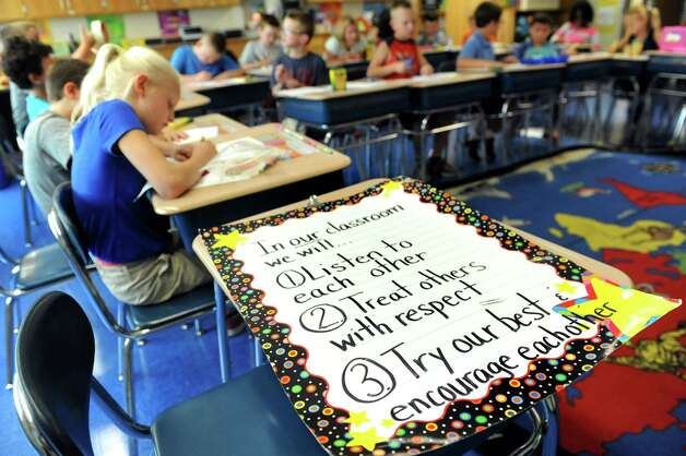 Class rules in Shayna Usher's third-grade class on the first day of school on Tuesday, Sept. 1, 2015, at Glencliff Elementary in Rexford , N.Y. (Cindy Schultz / Times Union) Photo: Cindy Schultz / 00033180A