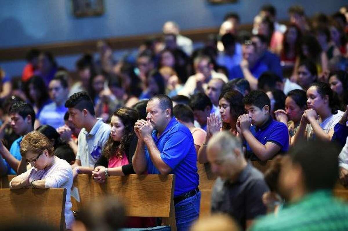 Worshipers at a Spanish Mass at Good Shepherd Catholic Church in Alexandria, Va.