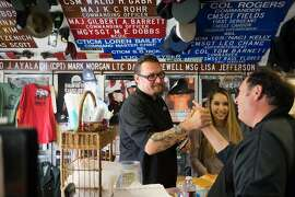 Cy Yontz, left, greets Bennett Compagno at Compagno's Market and Deli in Monterey, Calif. on Monday, Aug. 31, 2015. Cy Yontz was named Monterey's Chef of the Year.
