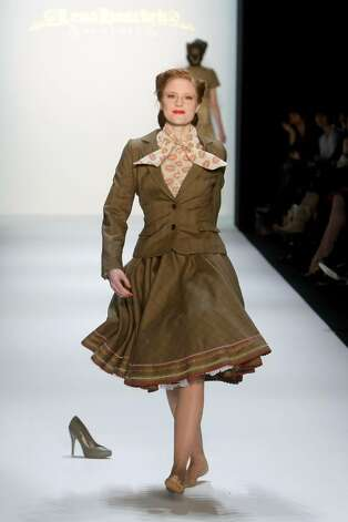 BERLIN - JANUARY 20:  Model Barbara Meier walks the runway wearing no shoes at the Lena Hoschek Fashion Show during the Mercedes-Benz Fashion Week Berlin Autumn/Winter 2010 at the Bebelplatz on January 20, 2010 in Berlin, Germany.  (Photo by Florian Seefried/Getty Images) *** Local Caption *** Barbara Meier Photo: Florian Seefried, Getty Images / 2010 Getty Images