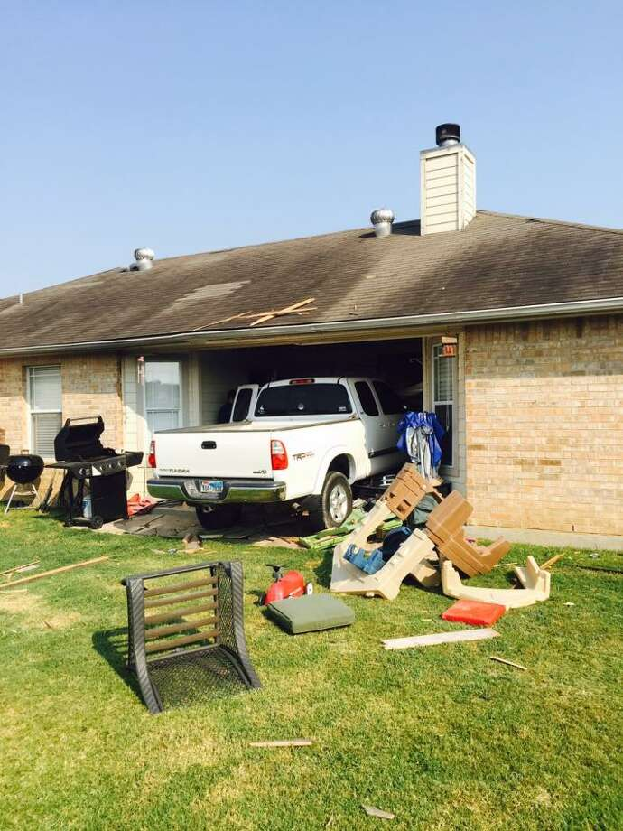 A New Braunfels woman crashed her pickup Aug. 28 into this home in the 1000 block of Northpark Ridge.