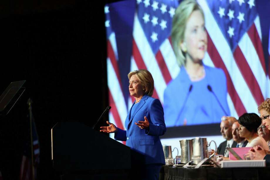 MINNEAPOLIS, MN - AUGUST 28:  Democratic Presidential candidate Hillary Clinton speaks at the Democratic National Committee summer meeting on August 28, 2015 in Minneapolis, Minnesota.  Most of the Democratic Presidential candidates including Clinton, Bernie Sanders , Martin O'Malley and Lincoln Chafee are attending at the event. (Photo by Adam Bettcher/Getty Images) Photo: Adam Bettcher / Getty Images / 2015 Getty Images