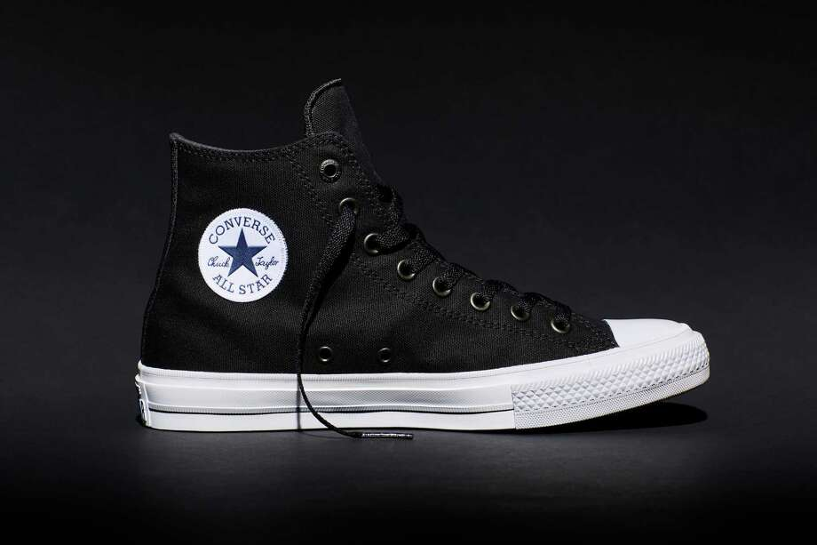 This photo provided by Converse shows the new Fall 2015 Chuck Taylor All Star II black high top sneaker, a modern adaptation of the original Chuck Taylor All Star. The new shoe went on sale July 28, 2015, in black, white, red and blue. Photo: Courtesy Converse Via Associated Press / Converse