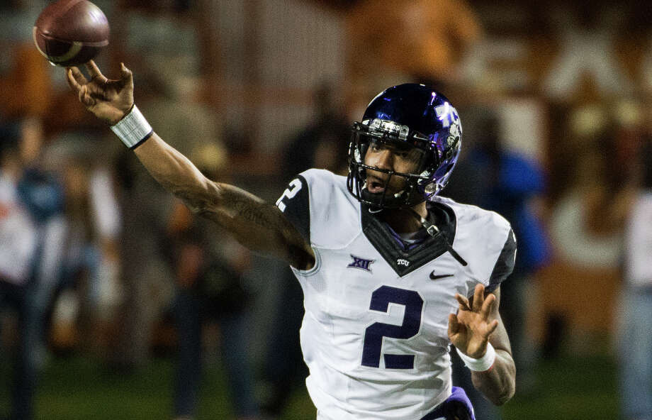 TCU quarterback Trevone Boykin throws a pass during the first half against Texas on Nov. 27, 2014, in Austin. Photo: Ashley Landis /Associated Press / FR171265 AP
