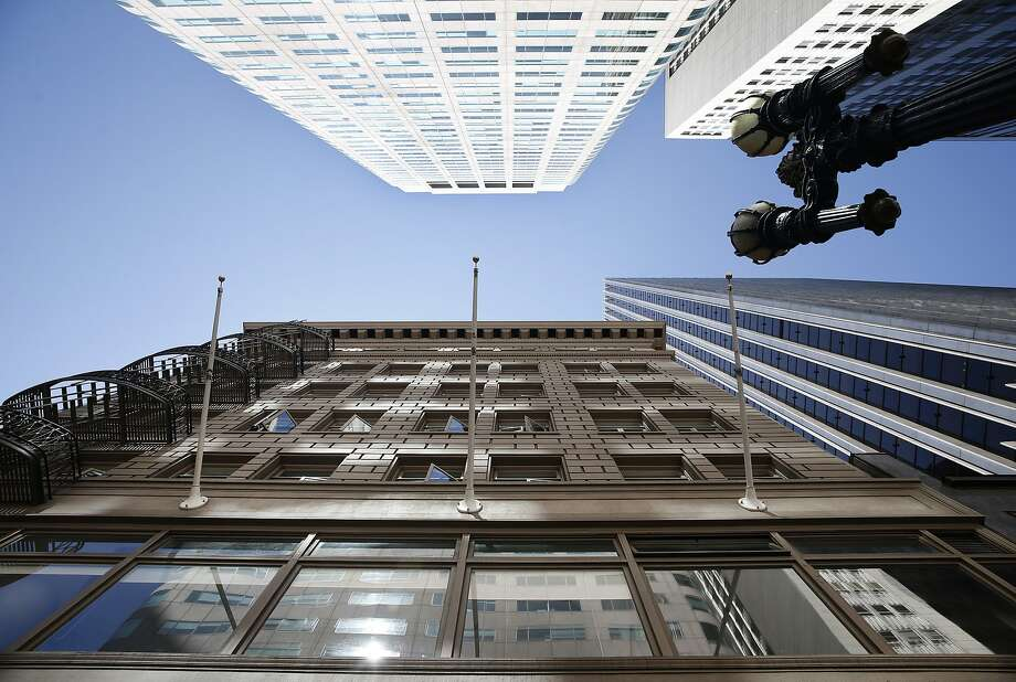 Modern office buildings tower above the historic Chancery Building (foreground) in San Francisco, Calif. on Tuesday, Sept. 1, 2015. Photo: Paul Chinn, The Chronicle