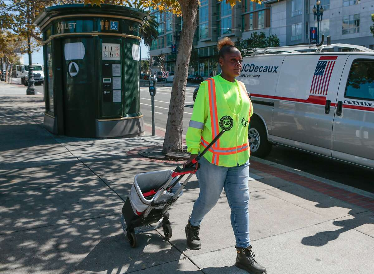Veneita Walker works as an attendant for the pilot Pit Stop program at the JC Decaux toilet on Market Street near Church Street on Tuesday, Sept. 1, 2015 in San Francisco, Calif. San Francisco Public Works' Pit Stop program hopes to make the toilets more attractive to the public by making sure they aren't used for drug dealing and other illicit activities.