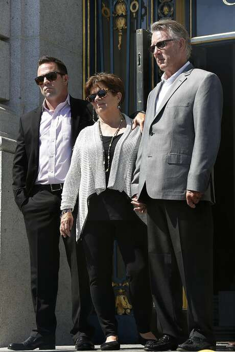 Brother Brad Steinle (left) with Liz Sullivan (middle) and Jim Steinle (right) parents of Kathryn Steinle, announce filing claims holding sheriff Ross Mirkarimi, immigration and customs enforcement, and the bureau of land management responsible for their daughter's death at city hall in San Francisco, Calif., on Tuesday, September 1, 2015. Photo: Liz Hafalia, The Chronicle