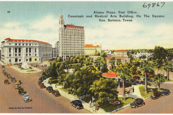 Alamo Plaza, post office, Cenotaph and Medical Arts Building, on the square, San Antonio, Texas (circa 1930-1945)