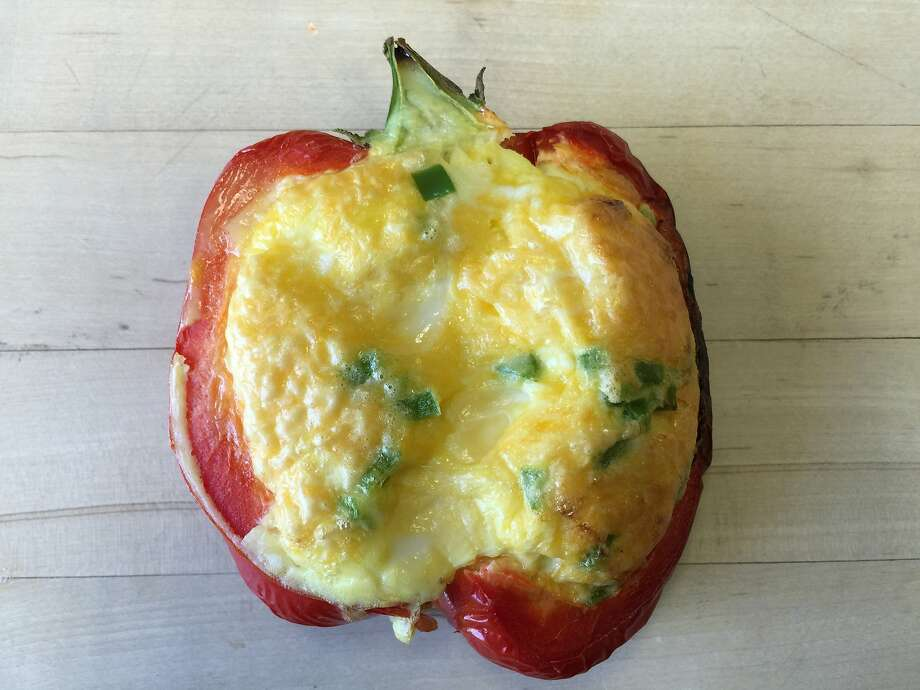 """Grilled peppers form the """"crust"""" for a quick quiche Photo: Amanda Gold"""