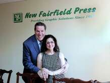 John and Maria Parille, owners of New Fairfield Press, Tuesday, Sept. 1 , 2015.