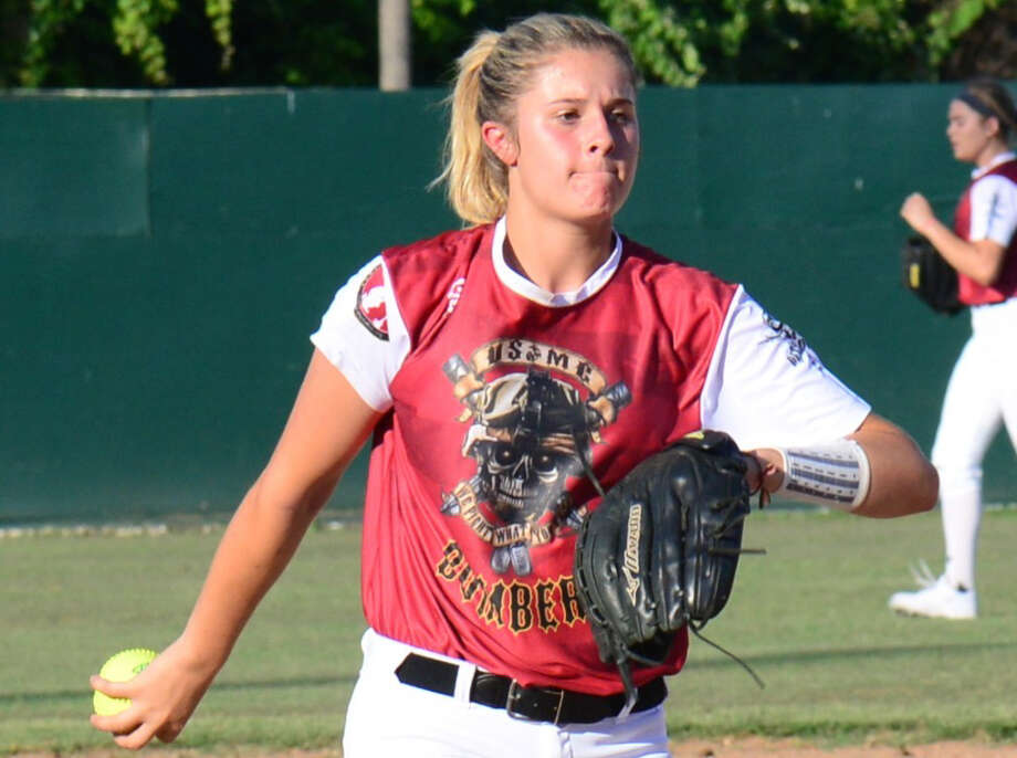 """Brooke Vestal, 15, a New Braunfels Canyon High school student, wears a commemorative jersey honoring Marine Sgt. Thomas Spitzer, a Canyon graduate who died in Afghanistan last year, as part of the Texas Bombers softball team's """"For the Fallen"""" program. Photo: Courtesy Photo"""