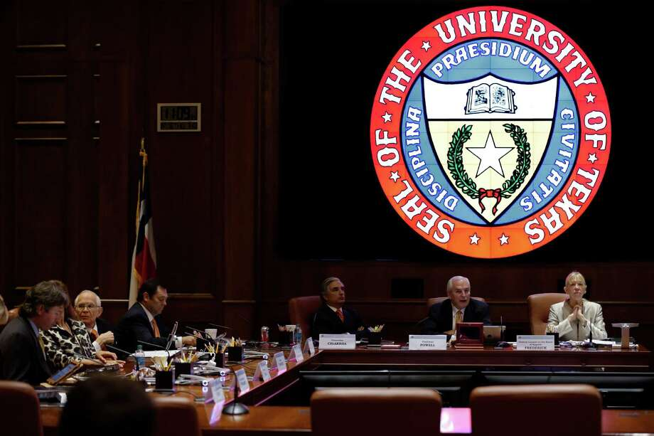 This file photo shows a University of Texas Systems board of regents meeting. Regents recently approved a new admission policy that makes it tougher for unqualified students to get admitted through political influence. Photo: Eric Gay /Associated Press / AP