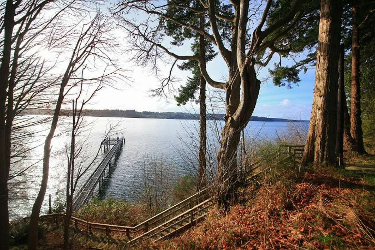 The home at 1865 Crestwood Cove Ct. in Freeland has ample waterfront and a long dock.