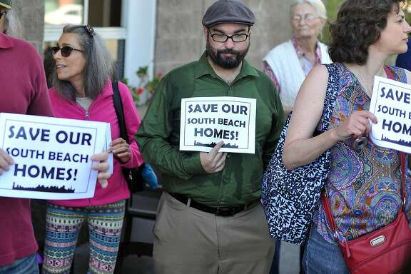 Local residents participates in a rally calling for changes to stop an out-of-state landlord from raising rents at the South Beach Marina Apartments in San Francisco on September 01, 2015. Now that a 25-year affordable housing lock has expired 101 units at 2 Townsend street will see already high rents lifted into the stratosphere. (JOSH EDELSON / SPECIAL TO THE CHRONICLE)
