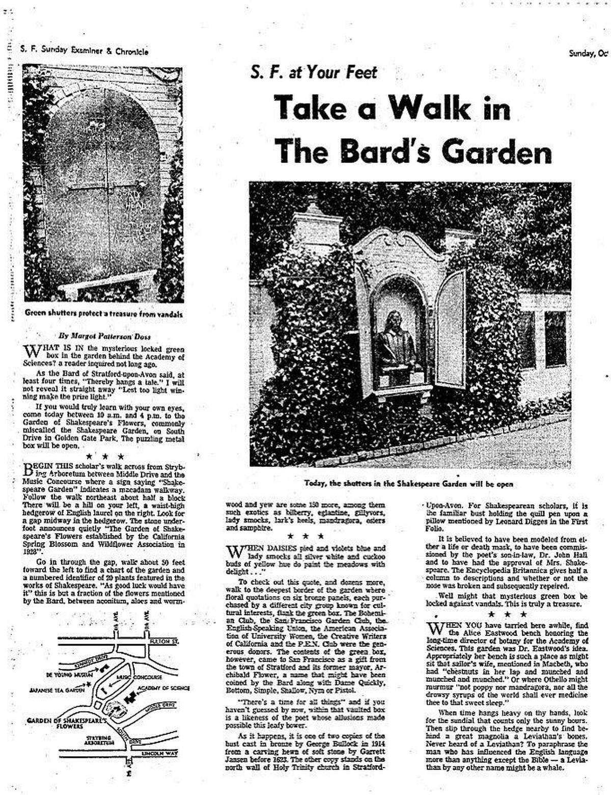 commonly know as Shakespeare's Garden, the Garden of Shakespeare's Flowers is in Golden Gate Park Story ran 10/8/1967
